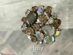 Vintage Regency Saphiret Cabochon Jewel Glass Topaz Ab Rhinestones Brooch Pin