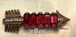 Vintage Reja Sterling Arrow Brooch withLarge Ruby Red Rhinestone Emerald Cut