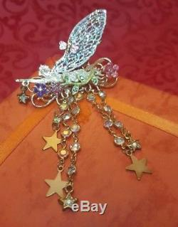 Vintage Retired Designer Signed Kirk Folly Fairy Pin Brooch Enamel Dangle Drop
