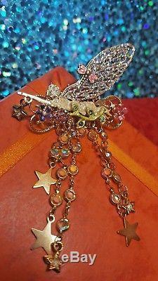 Vintage Retired Designer Signed Kirk Folly Fairy Pin Brooch Enamel Dangle Drop