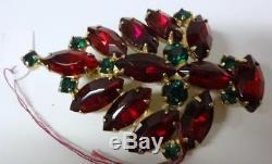 Vintage Retro 50-60s Rhinestone Christmas Tree Pin Brooch Rare