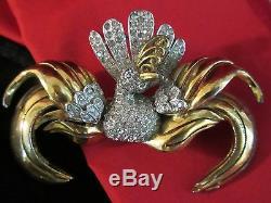 Vintage Rhinestone Bird Brooch PIN Designer Rhodium 1940 Figural 3.5
