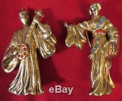 Vintage Rhinestone Brooch Figural Musical Dancing Geshia Woman Man 1940s