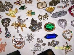 Vintage Rhinestone Brooch Pin Lot Czecho Orig. By Robert Coro Jj Bsk Lisner