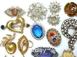 Vintage Rhinestone Brooches Lot 25 Pieces Enamel Flowers Monet Sarah Cov Pins