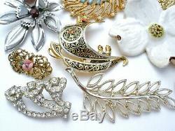 Vintage Rhinestone Brooches Lot 25 Pins Enamel Flower Selini Sarah Cov Emmons PD