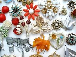 Vintage Rhinestone Brooches Lot 30 Pins Enamel Flowers Trifari Sarah Cov JJ Coro
