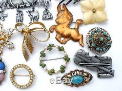 Vintage Rhinestone Brooches Lot 32 Pins Enamel Flower Krementz Hattie Carnegie