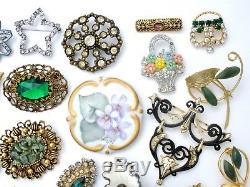 Vintage Rhinestone Brooches Lot 37 Pc Pins Enamel Flower Art Enamel Trifari Coro
