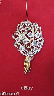 Vintage Rhinestone Crystal Brooch Flower Floral Spray Huge 1940's Figural