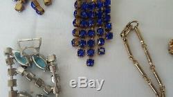 Vintage Rhinestone Crystal Enamel Jewelry Lot Necklace Earrings Brooch Bracelet
