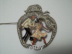 Vintage Rhinestone Enamel Brooch Apple Man Woman Dancers Figural BEST