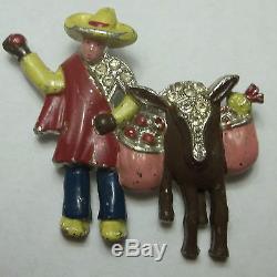 Vintage Rhinestone Enamel Brooch Figural Mexican Man & Donkey