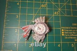 Vintage Rhinestone & Enamel Fish Brooch Lapel Watch Pin Figural 1940's Working