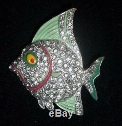 Vintage Rhinestone Enamel Fish Brooch Pin Figural GREAT