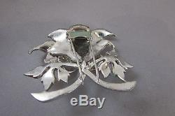 Vintage Rhinestone Enamel Flower Fur Clip Brooch Pin Figural Dujay