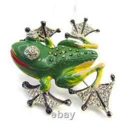 Vintage Rhinestone Enamel Frog Brooch Pin Figural Chanel Novelty Co