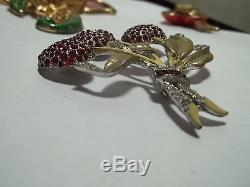 Vintage Rhinestone Enamel Strawberry Brooch 1940s RARE Rhodium Figural
