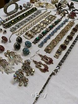 Vintage Rhinestone Jewelry Lot Bracelets Necklaces Earrings Brooches Signed Gorg