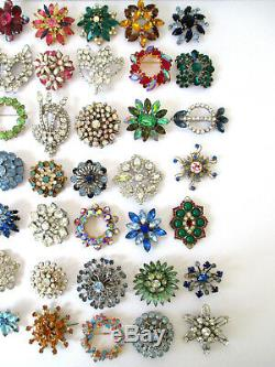 Vintage Rhinestone Pins Brooches Different Colors Shapes & Sizes Lot of 35