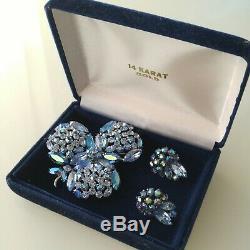 Vintage Rhinestone Sherman Brooch & Earring Set Blue Aurora Borealis Signed