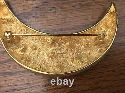 Vintage Rhinestone The Look Of Real Christian Dior Moon Crescent Brooch Pin