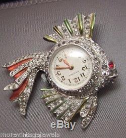 Vintage Rhinestone working Enamel Fish Lapel Brooch Watch Pin Figural 1940's