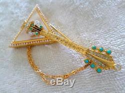 Vintage Robert Mandle Balalaika Pin Mother of Pearl Rhinestone Musical Brooch