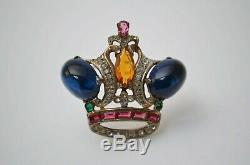 Vintage Royal crown brooch pin sterling silver jewelry 1940s