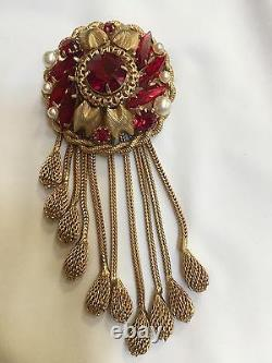 Vintage SCHIAPARELLI Signed Red Rhinestone & Faux Pearl with Gold Mesh Brooch