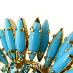 Vintage SCHREINER Blue Milk Glass Ruffle Brooch, Book Piece Rhinestone Pendant