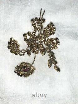 Vintage SCHREINER New York Faceted Purple Glass Rhinestone Flower Brooch Pin
