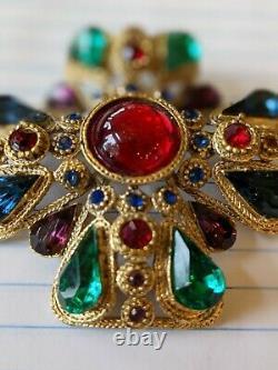 Vintage SPHINX Goldtone Color Rhinestone Cabochon Maltese Cross Brooch signed #