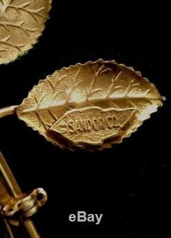 Vintage Sandor large enamelled yellow rose brooch with rhinestone 3.5