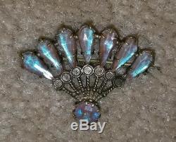 Vintage Saphiret Rhinestone Fan Brooch Pin Antique