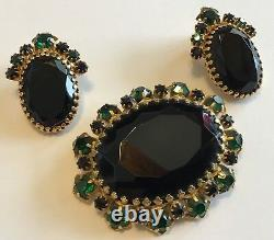 Vintage Schiaparelli Signed Blue And Green Rhinestone Brooch And Earring Set