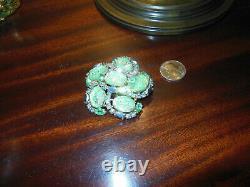 Vintage Schiaparelli Signed Green Lava Stone AB Rhinestone Brooch Pin Swarovski