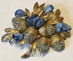 Vintage Schiaparelli Signed Light Blue Rhinestone & Swirl Glass Bead Brooch