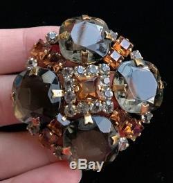 Vintage Schreiner Amber Rhinestone Jewel Smoky Gray Topaz Glass Austria Brooch