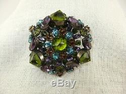 Vintage Schreiner Brooch/Pin Purple, Peridot, Aqua Blue, Brown 3-dimensional