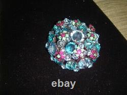 Vintage Schreiner Inverted Colorful Blue Domed Brooch & Earring Set Exquisite