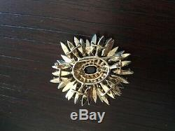 Vintage Schreiner Jet Black Rhinestone Ruffle Flower Brooch Pin
