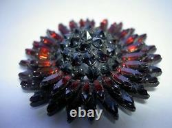 Vintage Schreiner Red Ruby Onyx Rhinestone Ruffle Sun Flower Dome Brooch Pin