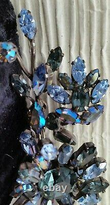 Vintage Schreiner Signed Blue And AB Rhinestone Flower Trembler Pin Brooch