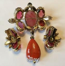 Vintage Schreiner Signed Pink And Gray Rhinestone Brooch And Earrings