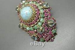 Vintage Schreiner book piece pink green glass rhinestones structure brooch
