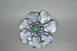 Vintage Schreiner book piece purple green glass rhinestones flower brooch