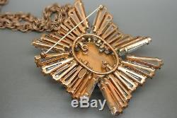 Vintage Schreiner clear rhinestones faux pearl ruffle flower necklace brooch