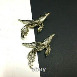 Vintage Set Of Boucher unsigned Phoenix BIRDS Brooch Rhinestones Cabochons HH69M