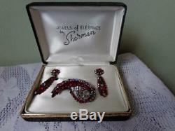 Vintage Sherman Red/Red Aurora Borealis Brooch & Drop Earrings In Original Box